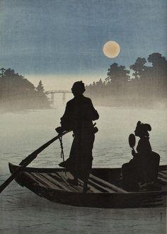 .:. A boat on the Sumida River in moonlight, 新井芳宗 / Arai Yoshimune. (1873 - 1945)