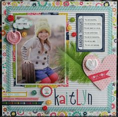 "Bella Blvd: ""Kaitlyn"" by Laura Vegas School Scrapbook, Kids Scrapbook, Scrapbook Paper Crafts, Scrapbook Cards, Scrapbooking Ideas, Scrapbook Photos, Scrapbook Sketches, Scrapbook Page Layouts, Picture Layouts"