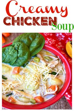 Easy, creamy chicken pasta soup with spinach recipe is simple to make using just a few common ingredients. #food #ontheblognow #photooftheday #yum #comfortfood #feedfeed #recipe #foodpics #recipeoftheday #familyfav #EEEEEATS #homecooking #foodblog #creamychickensoup #souprecipes #chickenrecipes #onepotmeal #weeknightdinner #dinnerideas #familydinner #fallrecipe #potluck #goodeats #dinner #bestrecipe #weeknight #delish #dinnerrecipe #chickenrecipe #souprecipe #weeknightrecipe #onepanmeal… Spinach Recipes, Soup Recipes, Dinner Recipes, Drink Recipes, Recipies, Creamy Chicken Pasta, Pasta Soup, Cooking On The Grill, Homemade Soup
