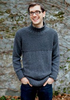 """Garter stitch panels add subtle texture to this understated men's pullover with a mock turtleneck. Shown in size Medium Sizes Directions are for men's size X-Small. Changes for sizes Small, Medium, Large and X-Large are in parentheses Finished Measurements Chest - 36(40-44-48-52)"""" Length - 26(26½-27-27½-28)"""" Materials 6(7-7-8-9) Balls Berroco Remix(100 grs), #3988 Steel Straight knitting needles, sizes 6 (4.00 mm) and 8 (5.00 mm) OR SIZE TO OBTAIN GAUGE"""