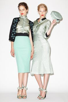 I need that mint cardi-belt-pencil skirt combination on the left. #drooling