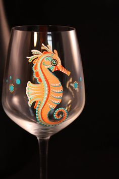 Image result for seahorse hand painted wine glasses