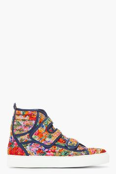 Check out these Raf Simons floral velcro high top sneakers $725, get it here:  http://rstyle.me/~oqK1