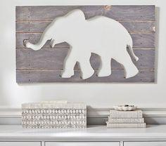 Gray Elephant Wood Plaque   Pottery Barn Kids