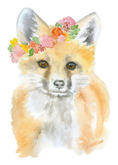 Fox Floral Watercolor Painting Giclee Print 5x7 by SusanWindsor