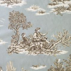 Spa Blue Cream and Natural Toile by ShopMyFabrics on Etsy