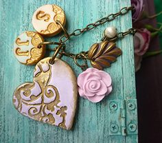 Heart Mama Necklace with Kids Initials in Lavender and gold