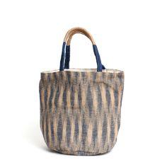 Hand Woven Ikat Jute Tote Bag Indigo - The Future Kept - 1