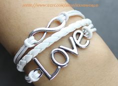 Silvery love bracelet infinity karma bracelet wish by handworld, $5.59