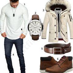 Männer-Style mit Amaci&Sons Pullover, braunen Timberland Bradstreet Chukka Schuhen, Ledergürtel, Fossil Armbanduhr, A. Salvarini Jeans und Daunenjacke.