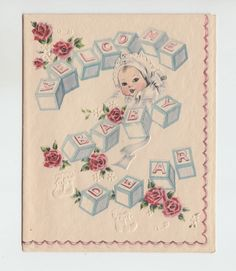 Vintage baby clip art vintage baby greeting card welcome baby vintage blocks baby roses welcome baby dear congratulations greeting card m4hsunfo