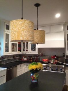 From the Spruce Lampshade Class.   Drum Shade Pendent lights