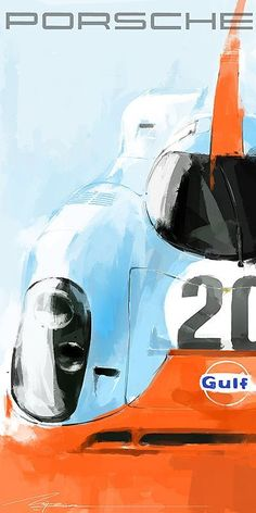 car art Toyota Designer, Mike Kim, Paints Racing Legends in Spare Time Racing this Auto Poster, Car Posters, Porsche 914, Porsche Cars, Vintage Racing, Vintage Cars, Car Illustration, Le Mans, Car Drawings