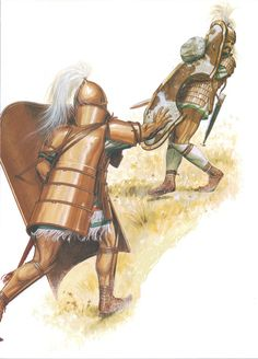 Ajax heaves a large boulder at Hector's shield, during their duel.  (Peter Connolly/Homer's Iliad, Book 7 /user: Aethon)