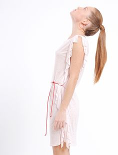 Summer dress in cream color with contrasting thread details in red  #summerdress#streetfashion#spanishdesign