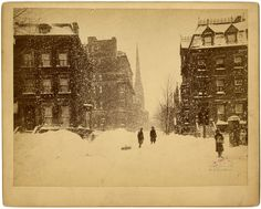 Blizzard of '88: Looking North on Fifth Avenue from Washington Square Park, March 12, 1888. Photograph by C.H. Jordan, published by Hegger. Geographic File, PR 020, New-York Historical Society, 54861.