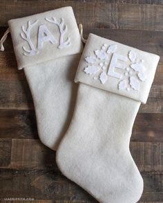 These monogrammed Christmas stocking are an easy DIY project. Pattern and tutorial.