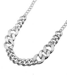 Silver plates bold chain, larger links on the middle and smaller links bottom and top!!! Dress up or down!!!!