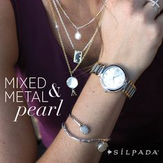 We love the combination of edgy mixed metals and classic pearls! #WomensFashion #Silpada