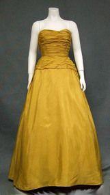 STUNNING Will Steinman Goldenrod Taffeta Strapless 1950's Ball Gown