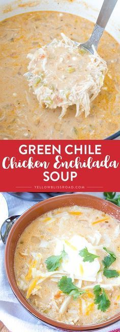 Chicken Enchilada Soup Green Chile Chicken Enchilada Soup - A rich and creamy Mexican inspired soup. It's like enchiladas in a bowl!Green Chile Chicken Enchilada Soup - A rich and creamy Mexican inspired soup. It's like enchiladas in a bowl! Crock Pot Recipes, Chicken Recipes, Cooking Recipes, Healthy Recipes, Chicken Soups, Keto Recipes, Healthy Soup, Chicken Salad, Cooking Tips