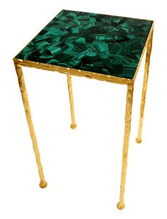 Marjorie Skouras; Toby Side Table - Semi-precious veneer inlay table top on a hammered wrought iron frame with a bright gold leaf finish