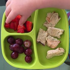 Didn't have a chance to cut up the grapes this afternoon because SOMEone was ravenous, but little M did just fine chewing them up! Paired 'em with strawbees and pita with hummus for a yummy snack/late lunch. * * #familystylenutrition #toddlerfood