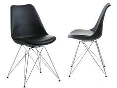 Die moderne 2er-Set Stühle in schwarz. Das Gestell ist aus Chrom. Die Rückenlehne und die Sitzschale aus Kunstsoff. Die Sitzauflage aus pflegeleichtes Kunstleder. Sitzhöhe ca. 49 cm. Belastbarkeit 100kg. Selbstmontage mit Aufbauanleitung. Alle Maße sind ca. Maße. Maße (cm): 48 x 55 x 85