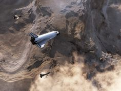 Space Shuttle on re-entry over California desert.