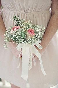 bridal followers in wedding love the simplicity of the pink roses mixed with the babies breath each bridesmade would carry one single pink rose perfection
