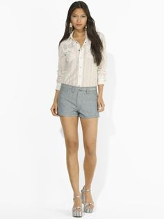 Short shorts need balance. Try a long sleeved, western style shirt to give you a classy look.