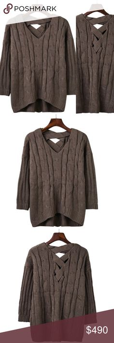 """Coming Soon!! Loose Criss Cross Cable Knit Sweater Brand new, loose cable knit sweater with criss cross detailing on the back in a dark coffee brown. Super soft and comfortable. One size fits most.  One size fits most Bust 41.8"""" / Length 24.8""""   Bundle and save! 💰10% off the purchase of 2 items 💰💰 15% off the purchase of 3+ items   ❓Questions? Please reach out and ask - I'm here to help 😊 Sweaters Crew & Scoop Necks"""