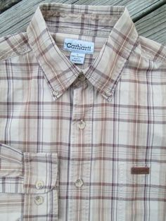 4056c62733d9 CARHARTT SHIRT Men s Large 17 x 34 Tan Beige Brown Cotton Plaid Logo  Excellent  fashion