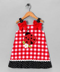 Take a look at this Red & White Gingham Ladybug Dress - Toddler & Girls by Youngland on #zulily today!