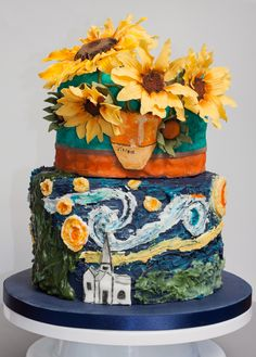 Van Gogh cake - Sunflowers & The Starry Night #vangoghcake #sunflowercake #birthdaycake