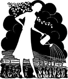 Retro Garden Lady Silhouette! - The Graphics Fairy - Vintage Printable