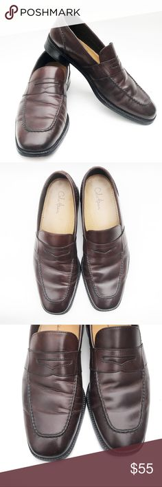 """[COLE HAAN] Men's Brown Leather Penny Loafer, 11 DESCRIPTIONS: [COLE HAAN] Men's Black Leather Penny Loafer, Men's 11 - Classic Penny Loafer - Style# C06889 - Slip on - Leather up - Leather outsole - 1.25"""" Heel  CONDITIONS: - Preowned - Good Condition - Shows normal signs of wear - Shows normal scratch & scuff marks - Outsoles has been professionally restored by Cole HAAN Cole Haan Shoes Loafers & Slip-Ons"""