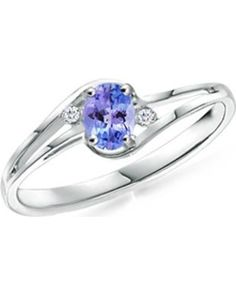 Angara Solitaire Pear Tanzanite Split Shank Ring