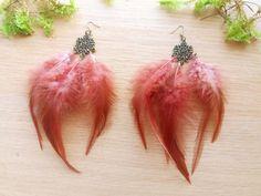 Brown feather earrings Boho earrings Gift by DreamyFlowerWonder