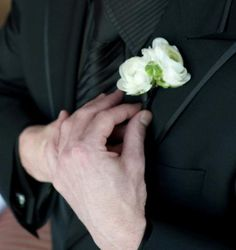 white ranunculus boutonniere - Google Search