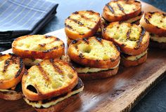 Grilled Cheese Grilled Cheese Sliders - Grilled halloumi cheese on grilled baguette with lemon and oregano