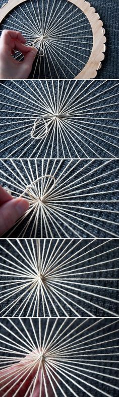 Use knitting loom? Tutorial: Warp a Circle Loom Teneriffe, Tapestry Weaving, Loom Weaving, Weaving Projects, Knitting Projects, Art Projects, Diy Tricot Crochet, Circle Loom, Circular Weaving