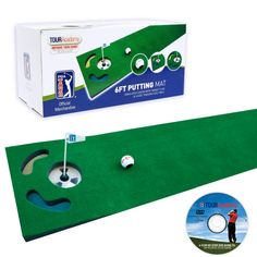 Golf Practice Putting Mat  ► Includes 6 ft putting mat  ► Simulated green  ► Target flag  ► Guide training golf ball  ► PGA Tour training DVD and golf ball alignment tool and pen included  http://www.ebay.co.uk/itm/271817493979?ssPageName=STRK:MESELX:IT&_trksid=p3984.m1555.l2649
