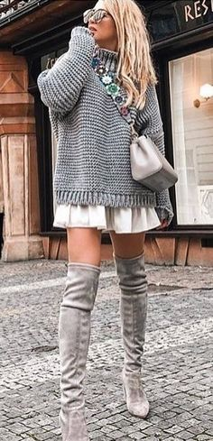 #winter #outfits gray sweater and gray knee-high boots