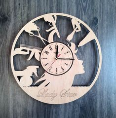 Hairdresser Barber Shop Wood Clock  Size - 12 in / 30 cm  Really cool gift and unique home decoration ;)  Can be personalized for free ;)  Free Shipping WORLDWIDE.