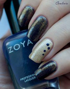 Dark purple with gold, Zoya Pinta, OPI L.A.M.B and OPI Goldilocks Rocks!