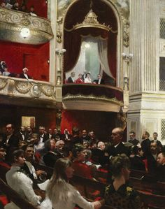 An Evening at the Royal Theatre by Paul Gustav Fischer (Danish 1860-1934)