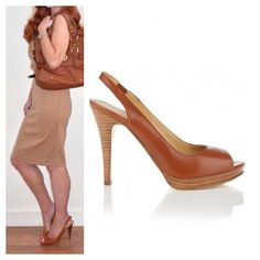 Nude heels! Camel brown.faux leather.peep toe.sling backs!! Worn once. Has extra padding put in that you can't see when on!(I do not take credit for the first image) Shoes Heels