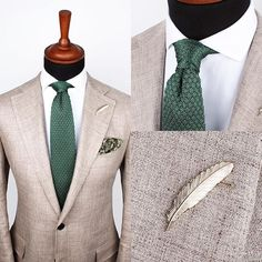 White Herringbone shirt, green knitted tie and a silver feather pin. www.GrandFrank.com