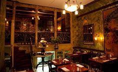 That metallic wallpaper and art nouveau interior in the Restaurant De Belhamel in Amsterdam
